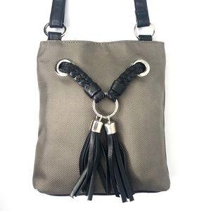 Bueno Nylon/Leather Taupe Gray Cross Body Bag